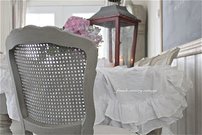 Ruffled tablecloth with french chair