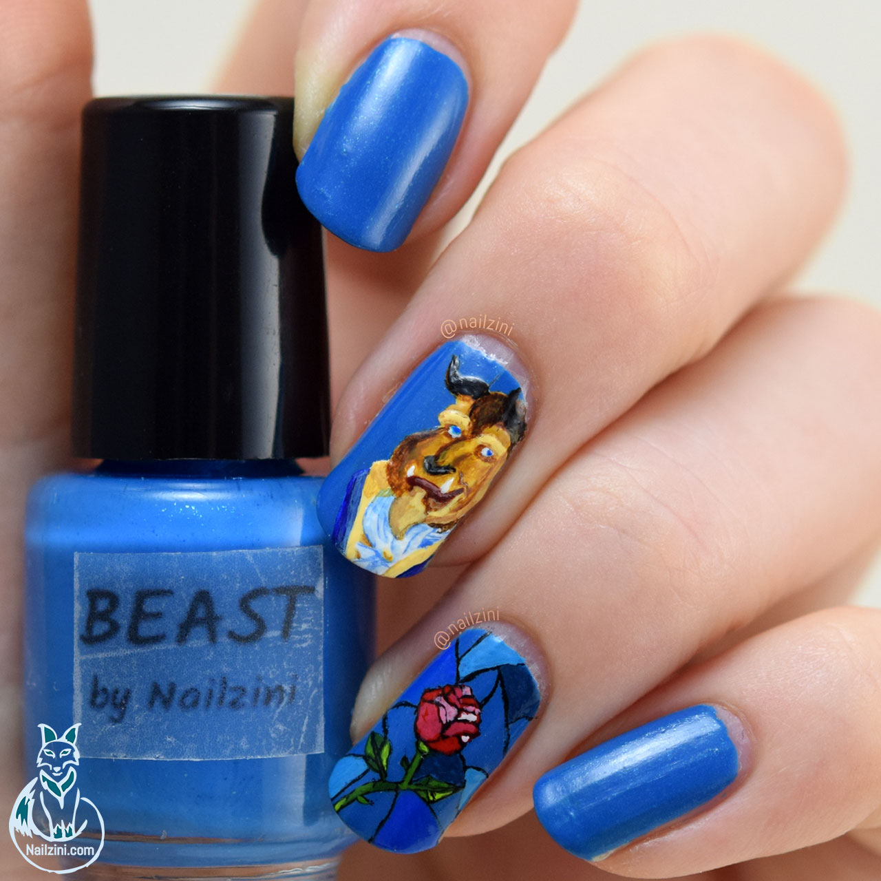 Beauty and the Beast stained glass Rose Nail Art Nailzini