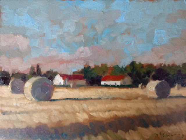 Oils on panel daily landscape painting of field near Montreuil, France. affordable art.