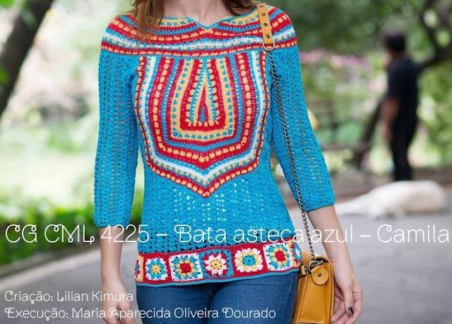 Patrón #1459: Blusa a Crochet