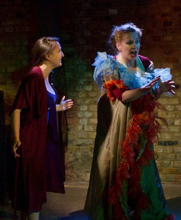 Julia Stikovetsky and Grainne Gillis in Menotti's The Medium: Operaview at Arcola Theatre / Grimeborn Festival - photo Yannis Katsaris