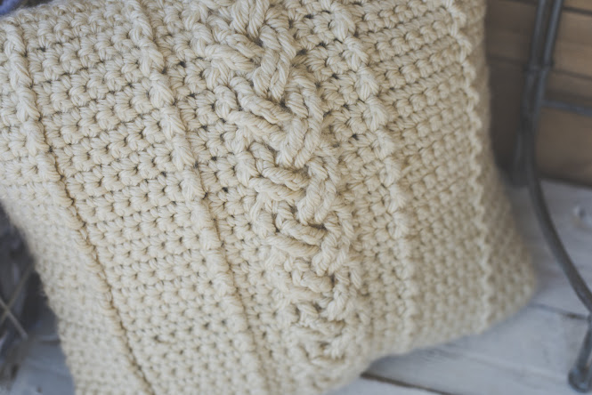 Beautiful Crochet Cable Projects: Cabled Farmhouse Pillow