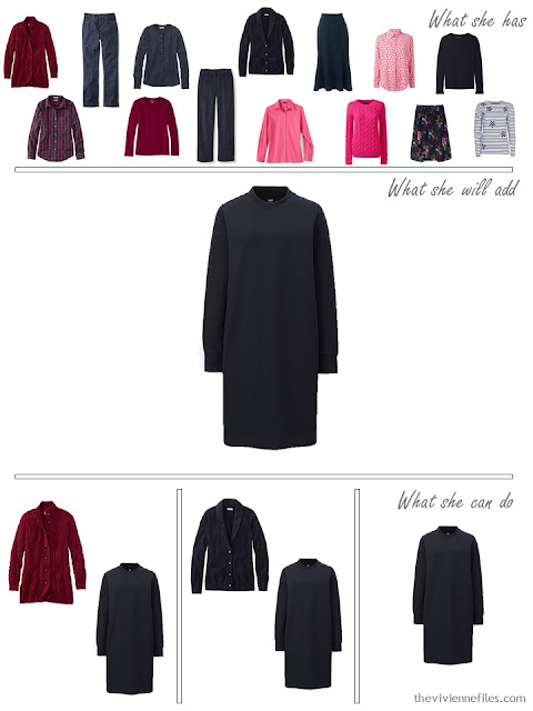 adding a navy sweatshirt dress to a capsule wardrobe in red and navy, for cool weather