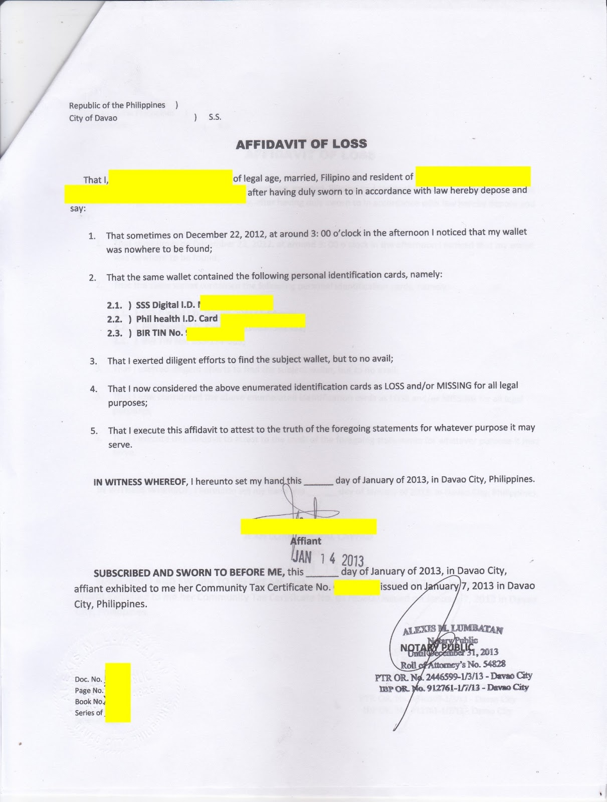 How to Avail Davao PHILPOST ID The CHARM Princess – Affidavit of Loss Template