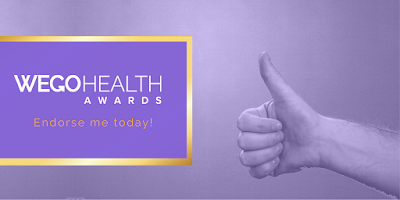 "purple-tinted photo of a person's hand giving a thumbs up on the right; on the left, a golden outlined purple text box says ""WEGOHealth Awards"" with smaller orange text below saying ""endorse me today!"""