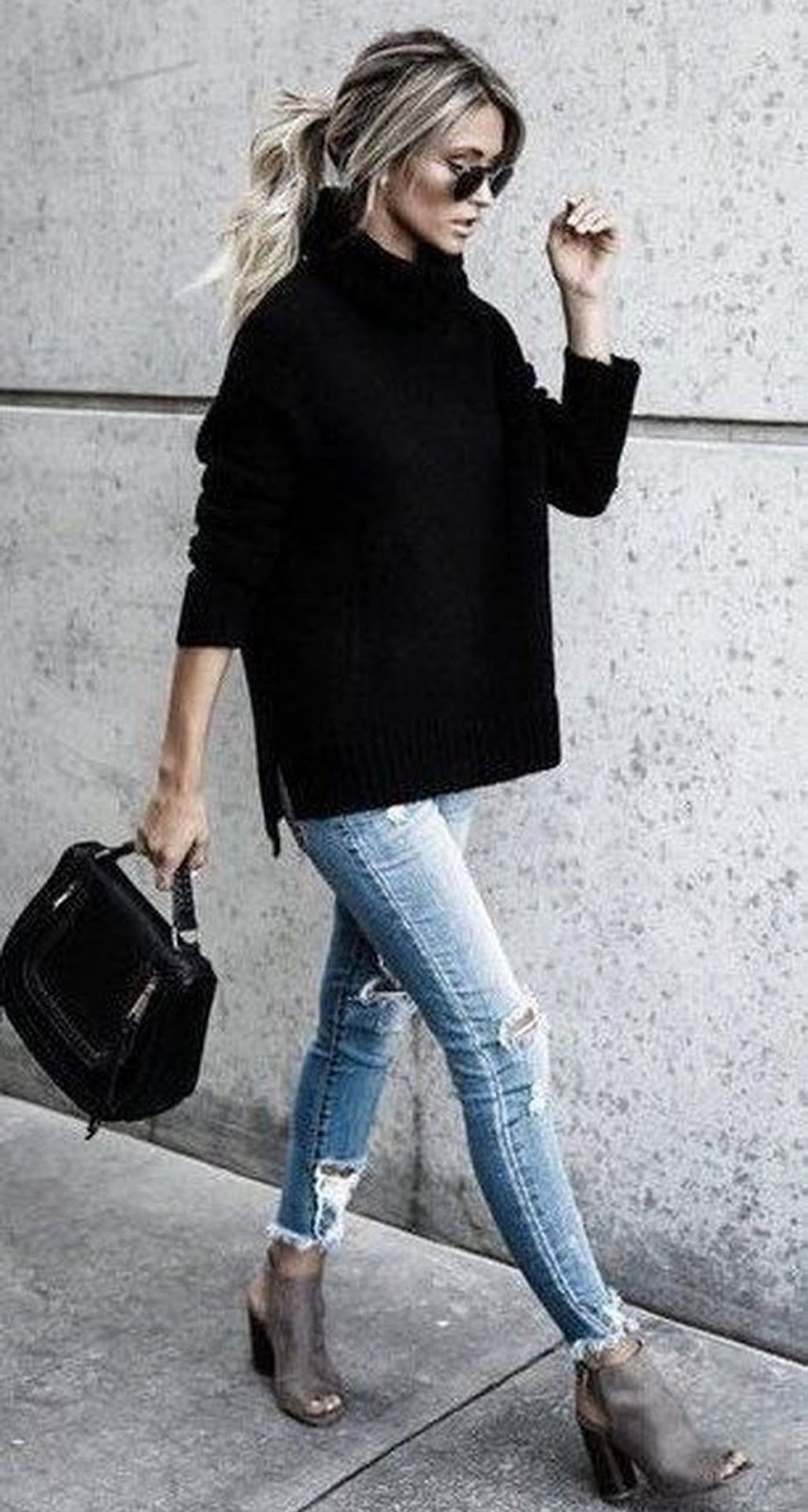 stylish look | black oversized sweater + ripped jeans + bag + heels