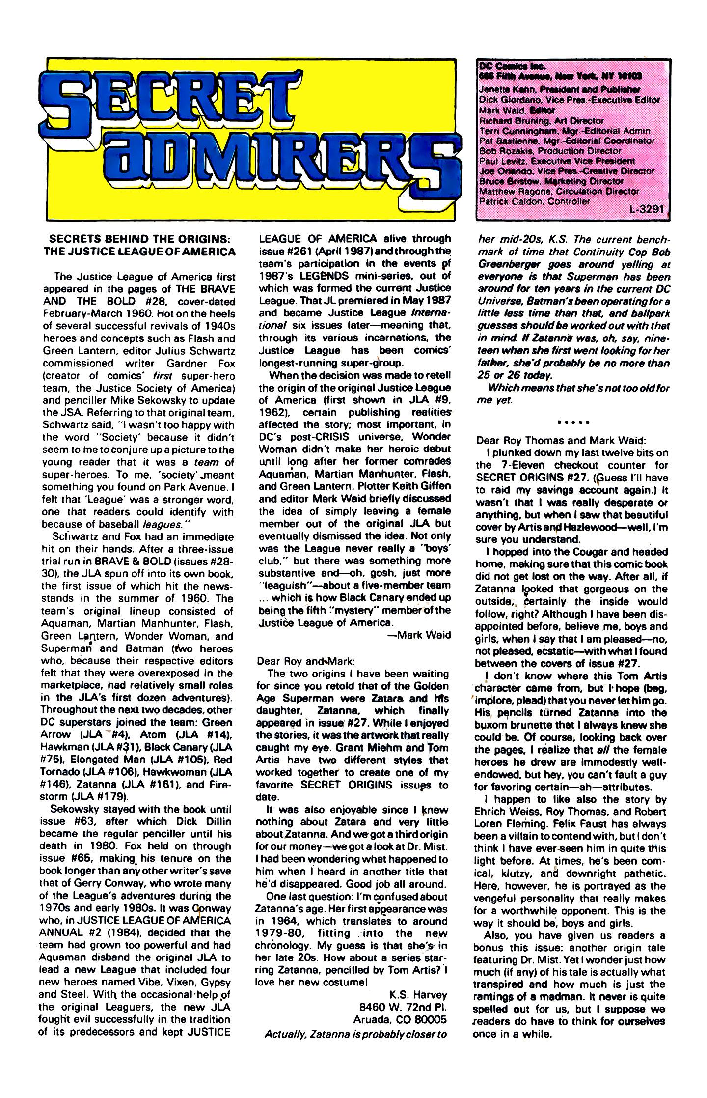 Read online Secret Origins (1986) comic -  Issue #32 - 40