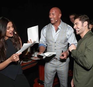 Priyanka-Chopra-with-The-Rock-and-Zac-Efron