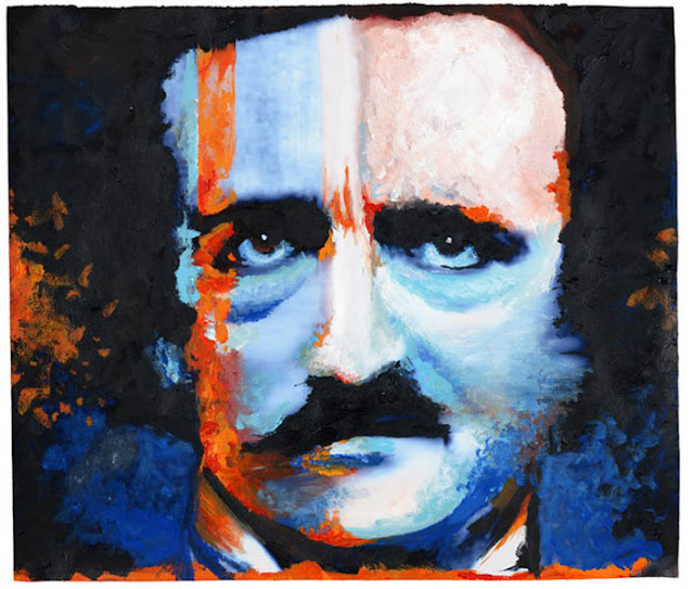 A watercolor of Edgar Allan Poe by goth musician and artist Marilyn Manson: