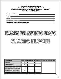 Exámenes Segundo grado Bloque 4 Ciclo Escolar 2017-2018