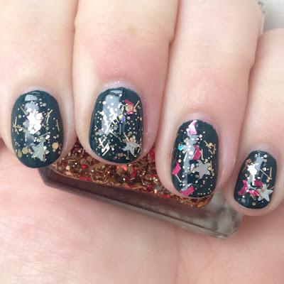 Essence The Little X-Mas Factory Meet Me Under the Mistletoe with Barry M Jingle Bells as a glitter topper nail polish