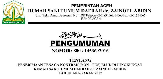 Lowongan kerja RSUD Zainal Abidin Banda Aceh 2016