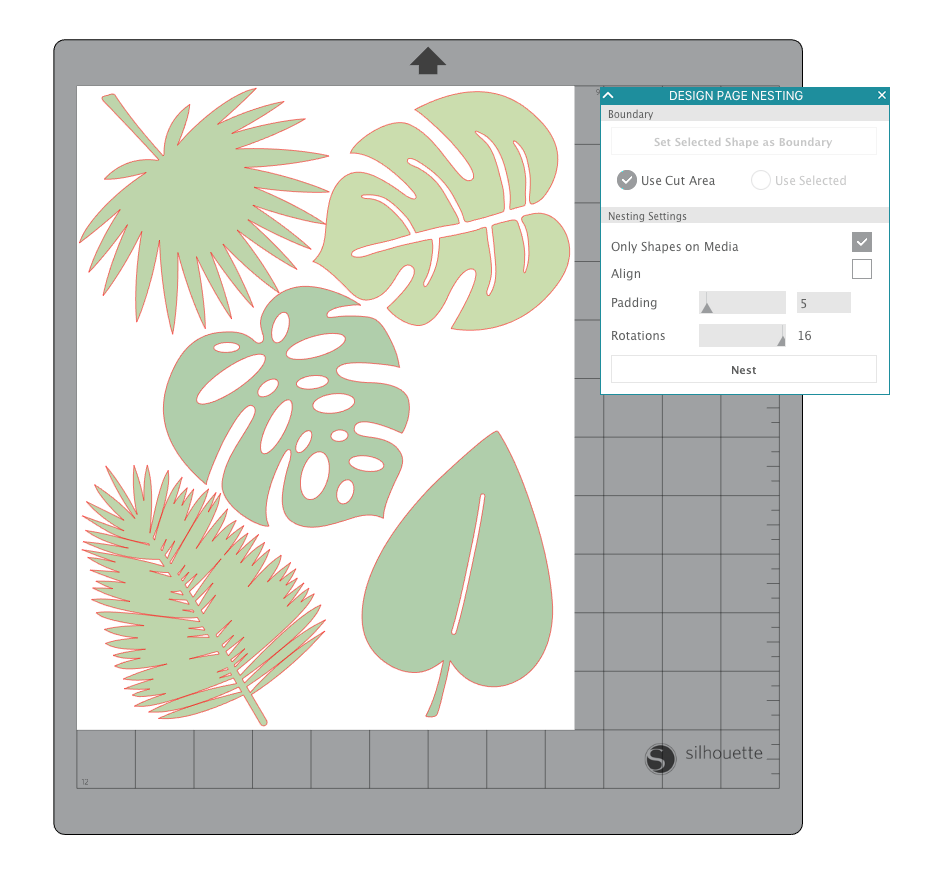 image relating to Silhouette Printable Gold Foil named Silhouette United kingdom: Mini Gold Foil Tropical Leaf Canvas Artwork