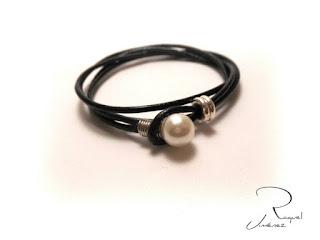 pulsera cuero y perla