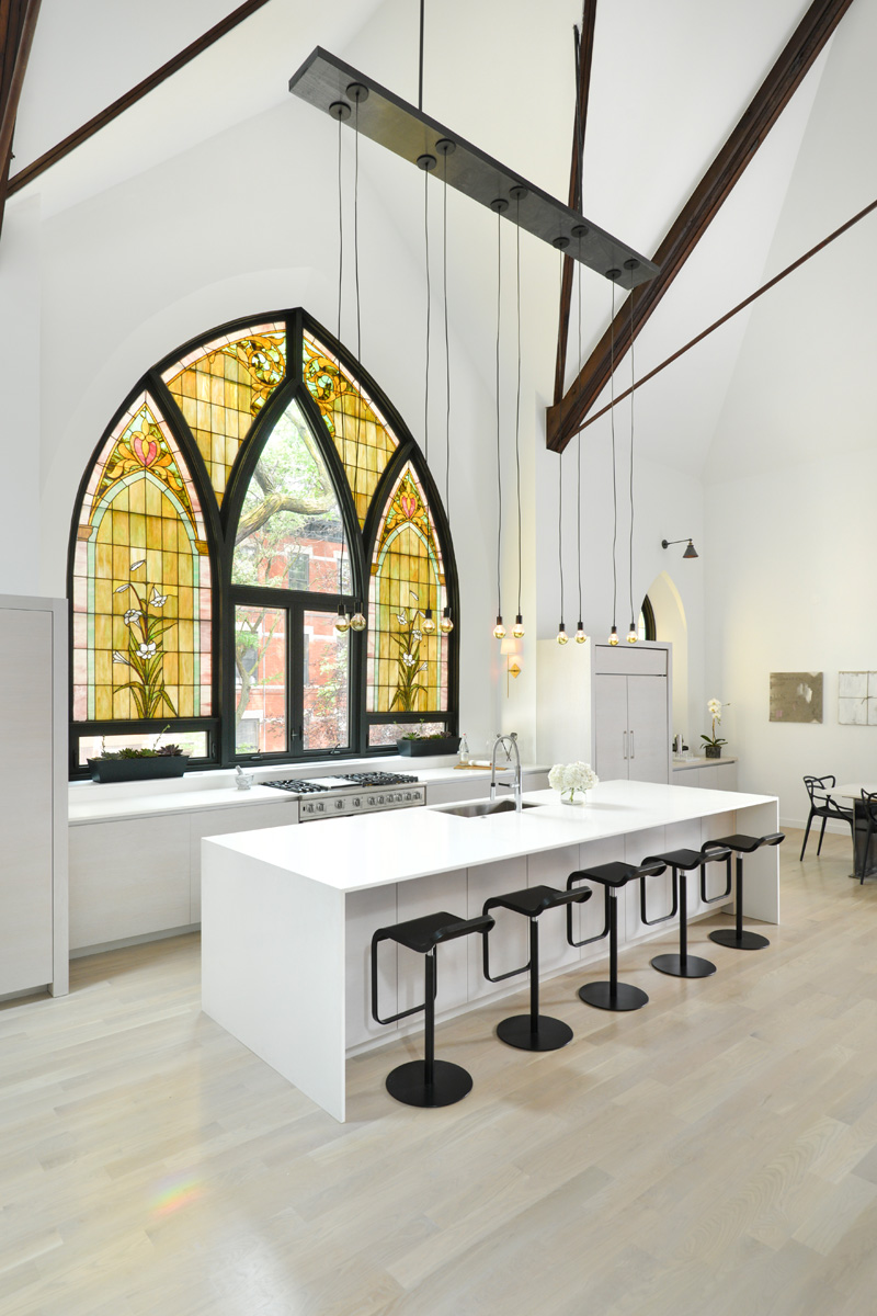 Modern kitchen in church conversion to chic private home Chicago
