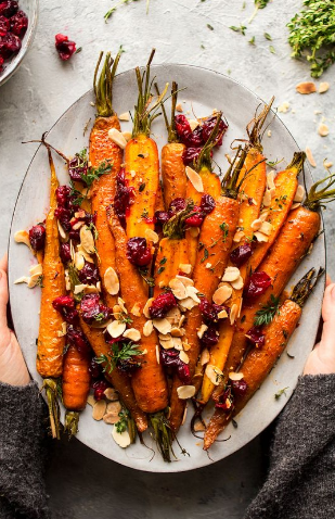 Maple Rosted Carrots With Cranberries