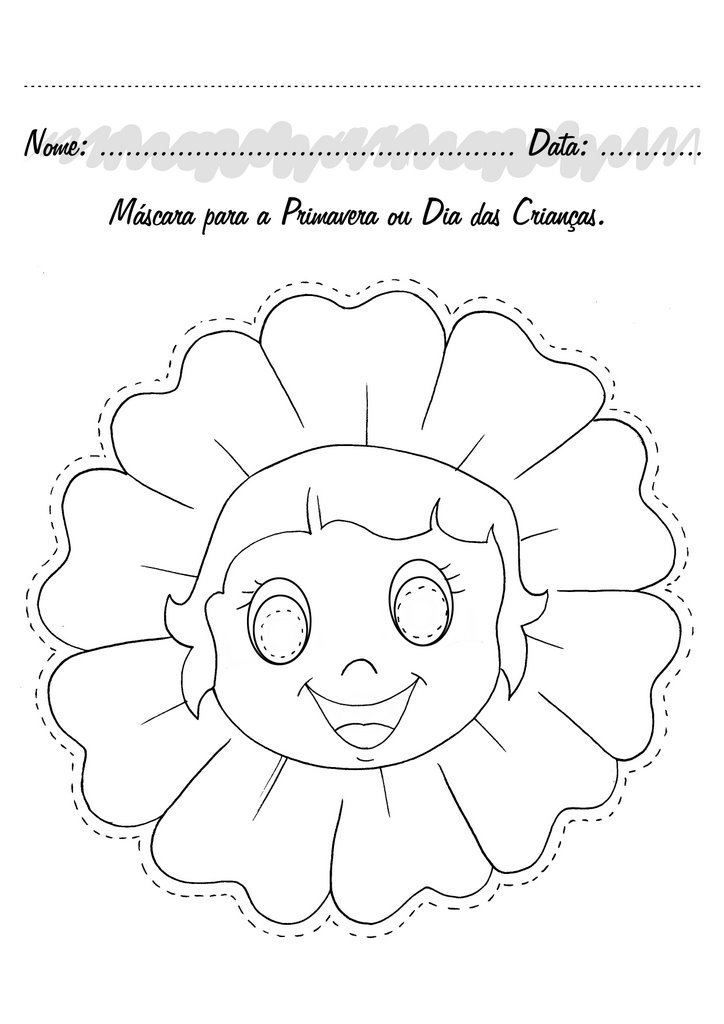 Pedagogas Da Paz Mascara De Flor Para Colorir Primavera Fantasia