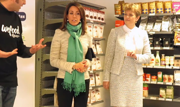 "Princess Marie of Denmark attended the opening of a new ""Wefood"" supermarket in Copenhagen. The purpose of DanChurchAid ""Wefood"" supermarkets is to prevent food wastage"