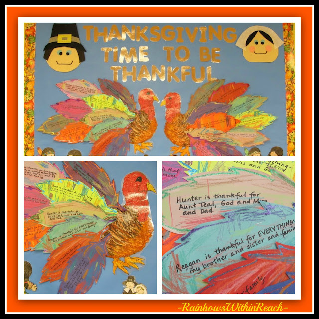 photo of: Thanksgiving Blessings on Turkey Feather Art on a Preschool Bulletin Board at PreK + K Sharing