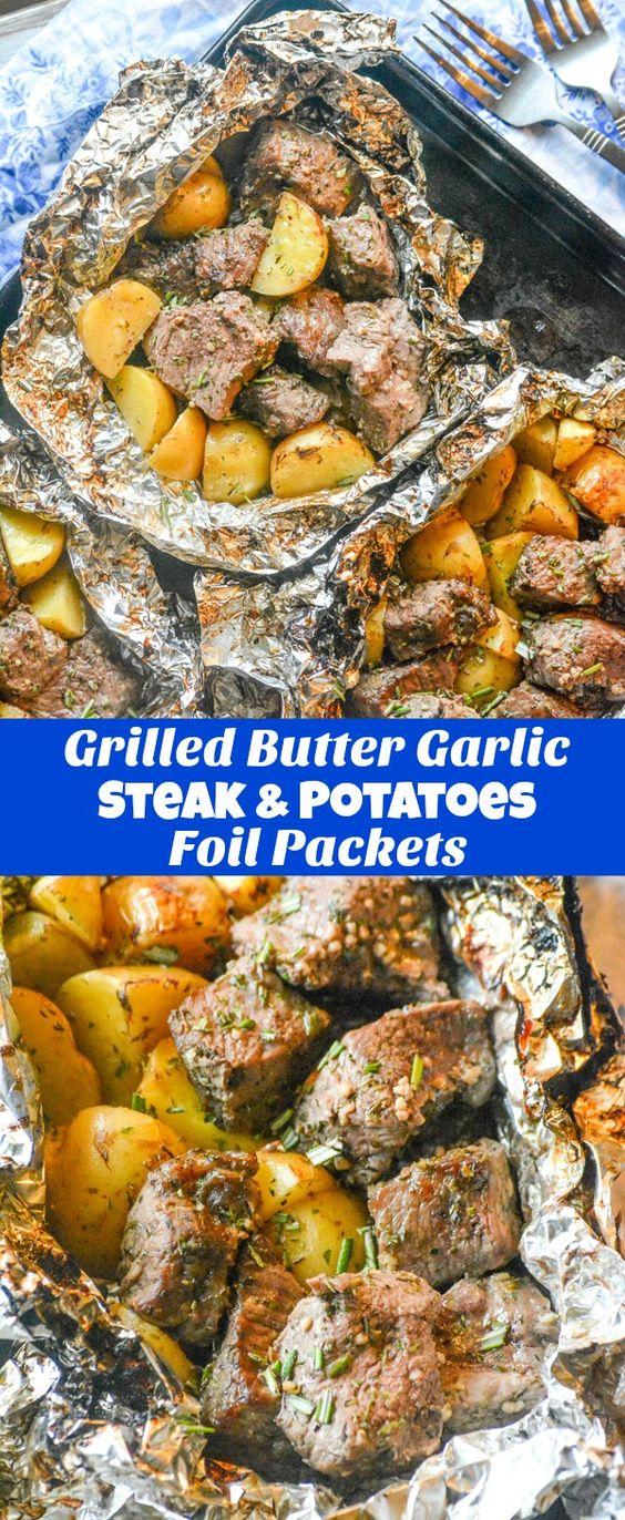 Grilled Butter Garlic Steak and Potato Foil Pack Dinner