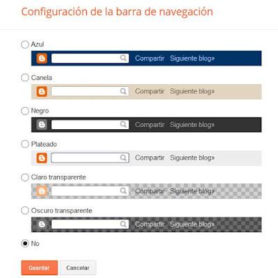Deshabilitar la barra de navegación en Blogger