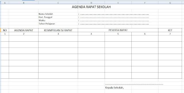 Format Buku Agenda Rapat Sekolah/Notulen