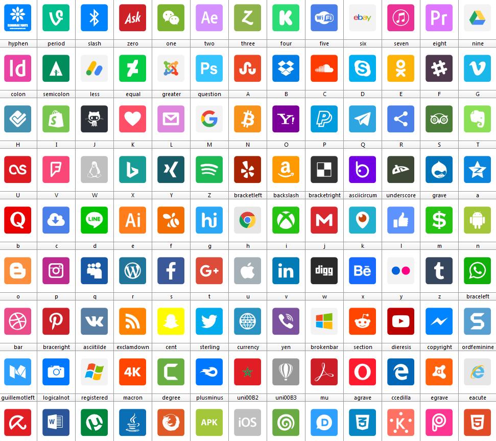 Download Font Social Media 2019 Color font ttf otf woff woff2 117 logos elharrak fonts free