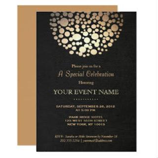 elegant gold sphere black formal invitation