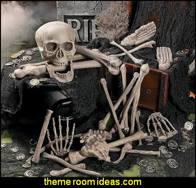 Bag of Skeleton Bones   Halloween decorations - Halloween decorating props - Halloween theme - Halloween decorating ideas - Halloween decor - wall murals halloween haunted mansion - lifesize standing halloween figures - halloween bedding -