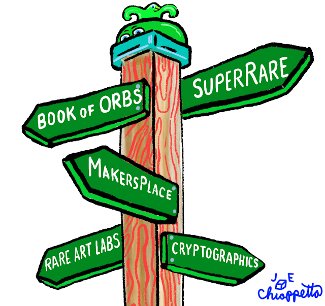 Street sign art by Joe Chiappetta pointing the way to crypto-collectible marketplaces