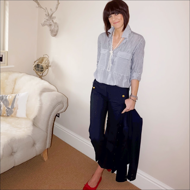 My Midlife fashion, zara striped shirt, single row long length pearls, j crew cropped sailor pants, quilted ballet pumps, ralph lauren military jacket