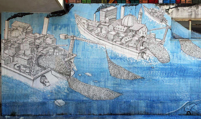 Street Art By Blu in Messina At Teatro Pinelli Occupato.- boat details