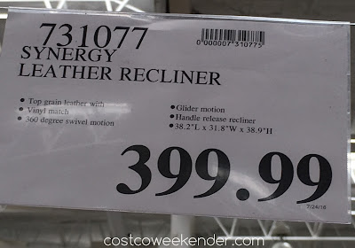 Deal for the Synergy Leather Recliner Chair at Costco