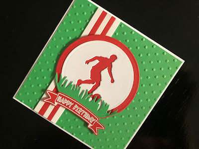 hand made mans birthday card with die cut football player