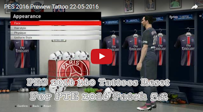 PES 2016 Tattoo Pack Reset For PTE Patch 5.2
