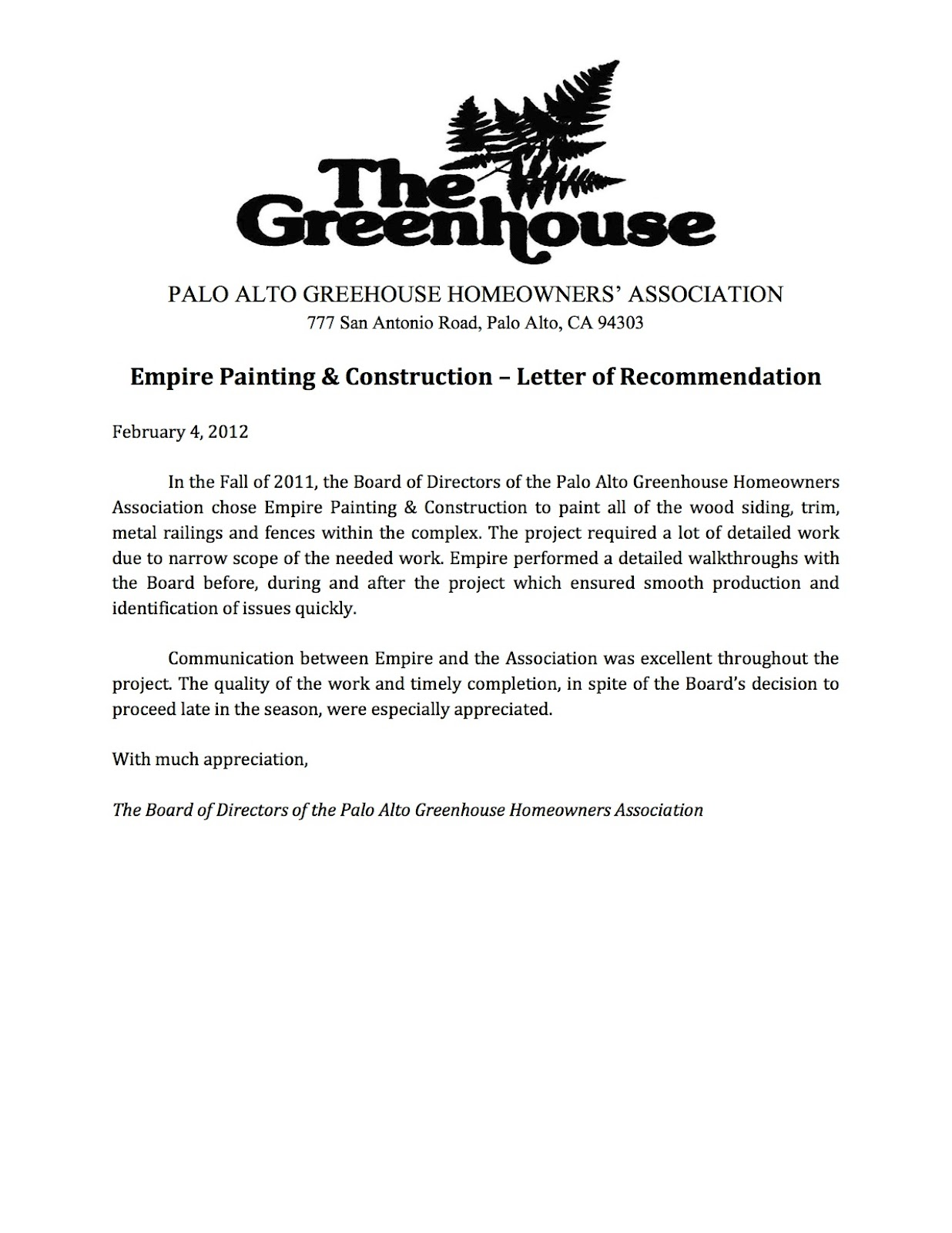 EmpireWorks Reviews and Resources: The Greenhouse HOA Reference Letter