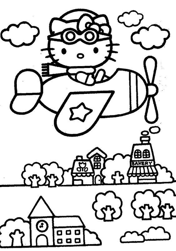 Tranh tô màu mèo hello kitty lái máy bay