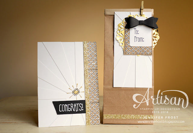 Sparkle and Shine, Bow Builder Punch, Petite Cafe Gift Bag, Engagement, Congratulations, Papercraft by Jennifer Frost