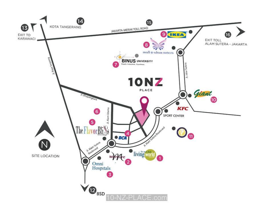Peta Lokasi Apartemen 10 NZ Place Alam Sutera