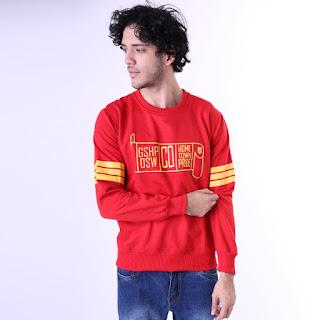 Sweater Cowok Motif Lengan Garis GSHP