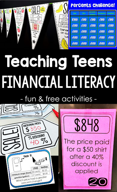 Looking for activities to teach teens financial literacy? In this post I share some of the activities I use to teach my consumer math class, including a few few resources to get started teaching financial literacy today.