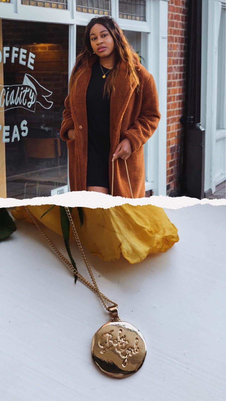 teddy coat, boohoo, fashion blogger, streetstyle, student blogger, budget, foaki, black blogger