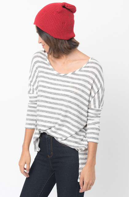 Shop for White Striped long sleeve pullover crew neck Tunic Online - $38 - on caralase.com