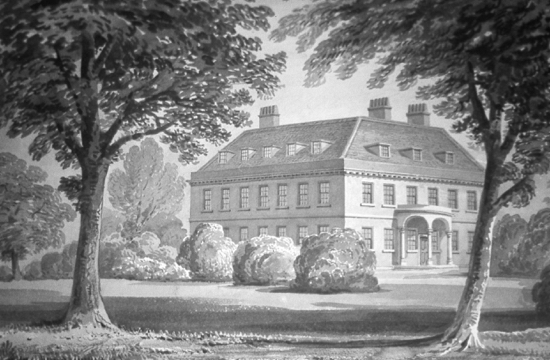 Drawing of Brookmans House by Clutterbuck 1840 Image courtesy of Hertfordshire County Records Office (HCRO)