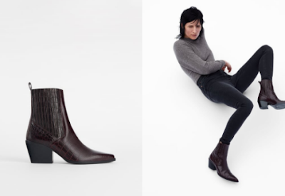 High-necked & ankle-length V-neck boots