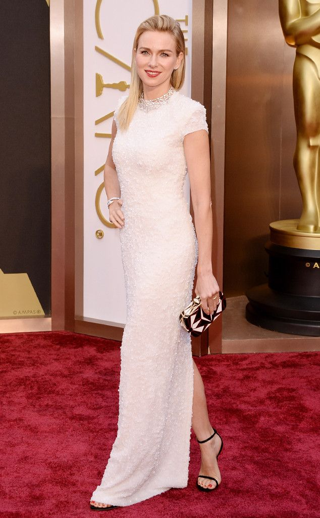 Naomi Watts in a white column Calvin Klein Collection dress at the Oscars 2014