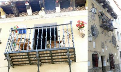 Collage formado por una vista de la fachada y del balcón principal