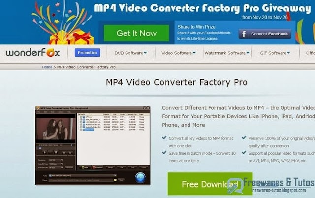 Offre promotionnelle : Wonderfox MP4 Video Converter Factory Pro gratuit !