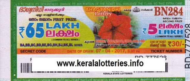 Kerala lottery result live of Bhagyanidhi (BN-93) on 12 July 2013