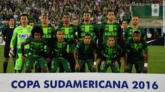 Chapecoense players pose for pictures during their 2016 Copa Sudamericana semifinal second leg football match on November 23.